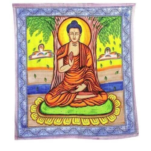 Buddha Mintás Falidísz Indiából Világos Színekkel sárga