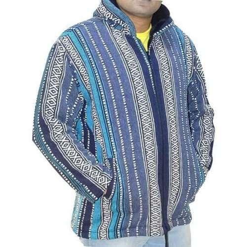 Csíkos Vastag Férfi Kabát Nepálból kék
