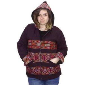 Női Kabát Kapucnis Gyapjúból Csíkozott