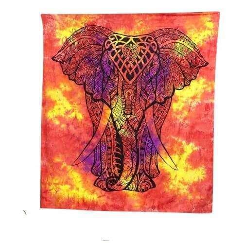 Elefánt Mintás Falidísz Indiából 4 Színben narancs
