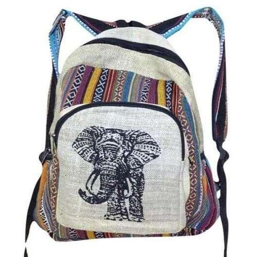 Krém Színű Hátizsák Nepálból Elefánt Mintával