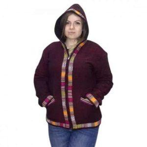 Női Kabát Gyapjú Poláros Kapucnival