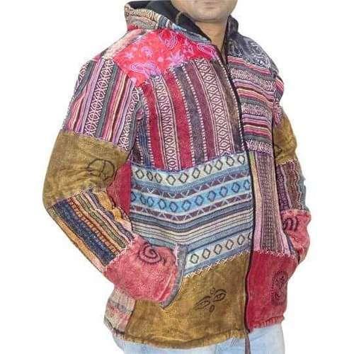 Vastag Férfi Kabát Nepálból Színes Kockás Pamutból