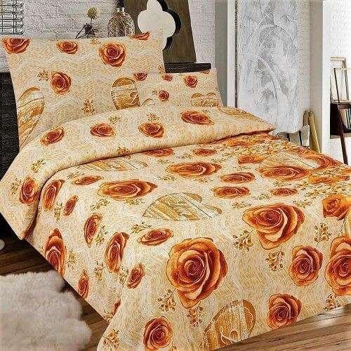 drapp színben rózsa minta flanel ágyneműhuzat
