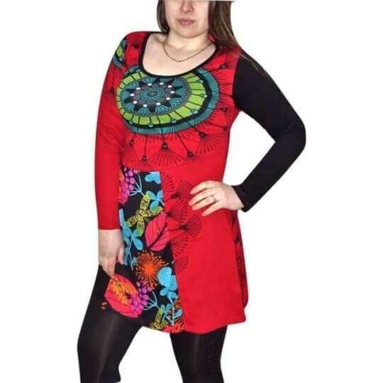 egyedi piros tunika mandala mintával nőknek