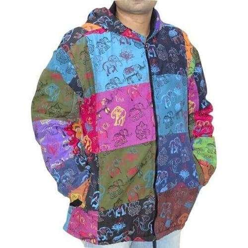 elefánt mintás vastag férfi kabát nepálból