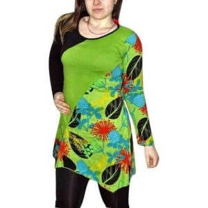 élénk zöld pamut női tunika mandalával