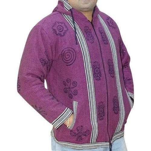 férfi kabát nepálból om mintás díszítéssel bordó