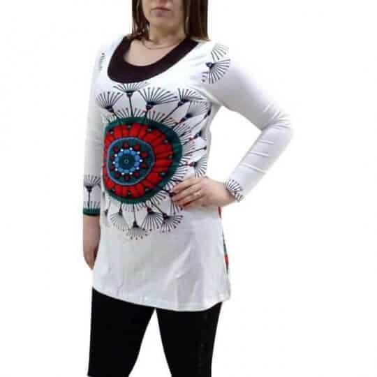 fehér mandala mintás női pamut tunika