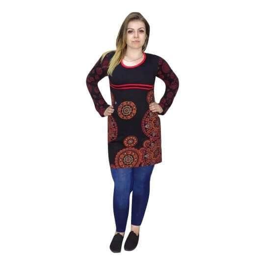 fekete alapon piros mandala mintás női tunika