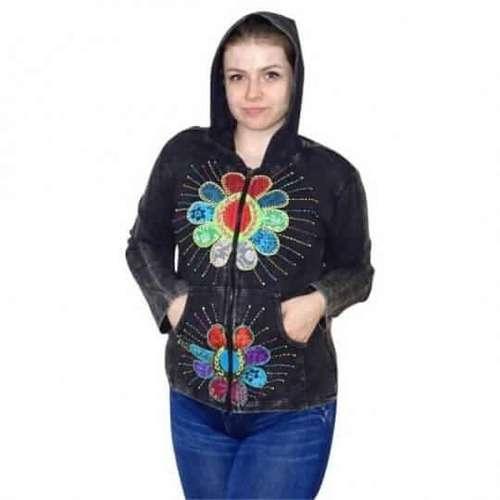 fekete pamut felső virág mintával nepálból