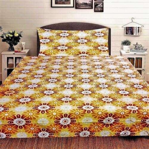 flanel ágynemű krém alapon érdekes sárga minta