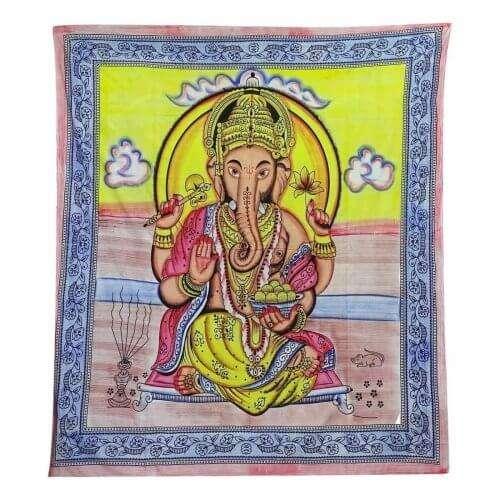 ganésa mintás falidísz indiából világos színekkel sárga.