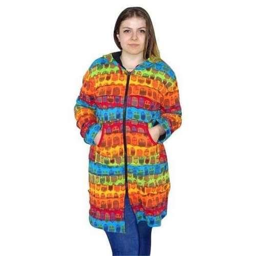 hosszú vastag kabát nepálból bagoly mintával