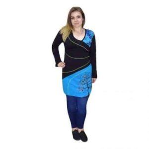 Női Tunika Pamutból Kék Fekete