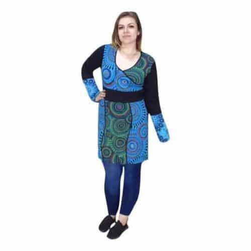 kék mandala mintás nepáli tunika