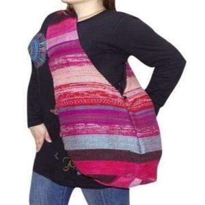 kosár alakú pamut táska nepálból csíkos pink