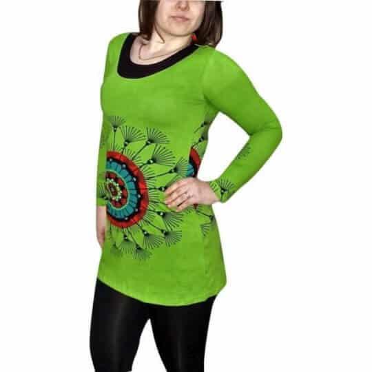 mandala mintás zöld pamut női tunika