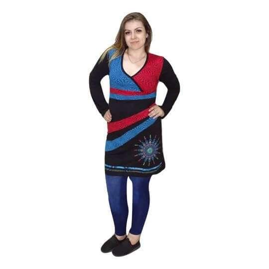 női tunika piros kék színben mandala minta