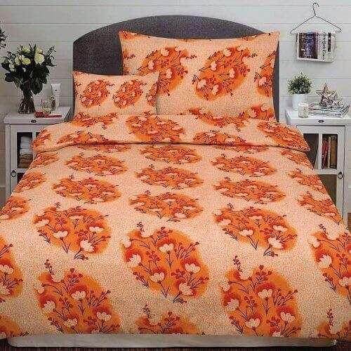 narancs színben virág minta flanel ágyneműhuzat