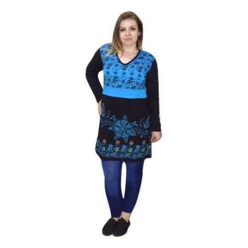 nepáli tunika fekete kék színben hímzett minta