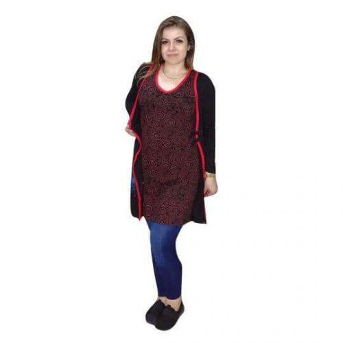 nepáli tunika piros fekete szín összeköthető mellénnyel
