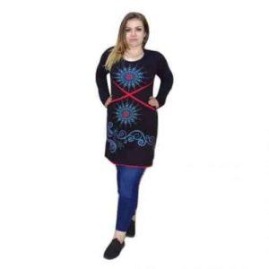 női tunika fekete alapon kék mandala minta