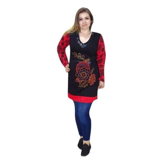 piros fekete mandala mintás nepáli tunika