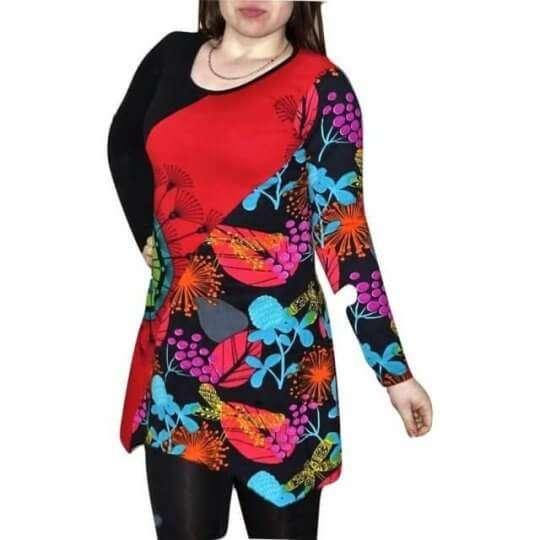 piros női tunika színes virág mintával