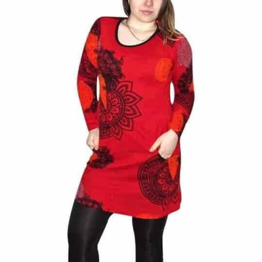 piros pamut tunika nőknek mandala mintával
