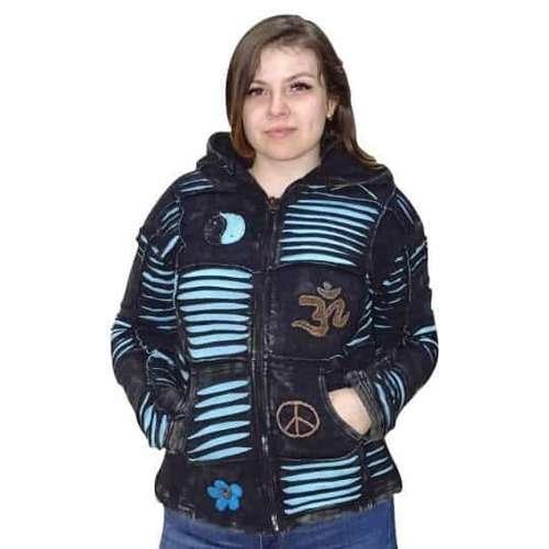 rövid kabát nepálból fekete alapon kék om minta