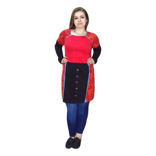 tunika nepálból díszgombokkal piros fekete szín