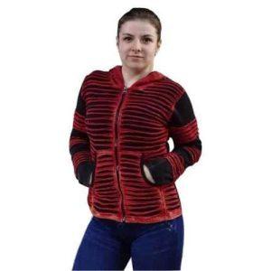 vastag bélelt rövid kabát nepálból piros fekete színben