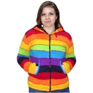 vastag bélelt rövid kabát nepálból szivárvány színekkel
