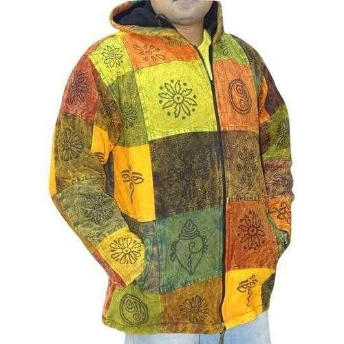 vastag férfi kabát nepálból színes kockás alapon