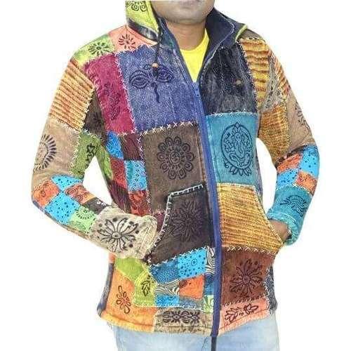 vastag férfi kabát nepálból színes kockás