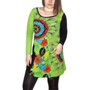 zöld pamut tunika nőknek mandala mintával