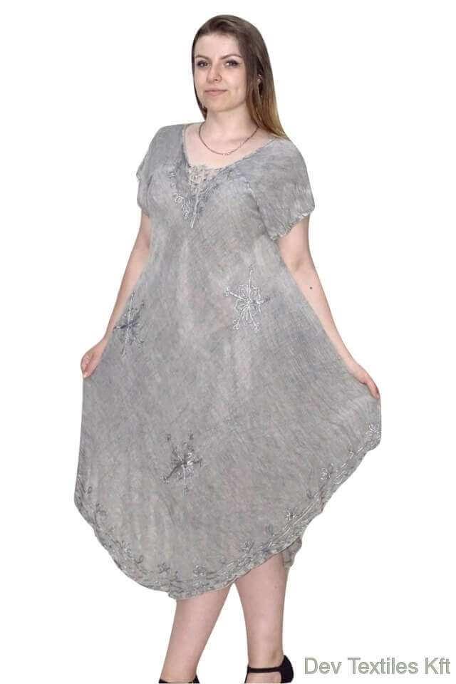 egyedi rövid ujjú rövid indiai ruha világos szürke