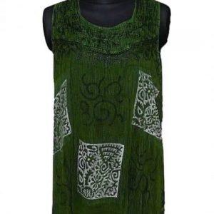 elegáns ujjatlan tunika indiából univerzális méretben zöld