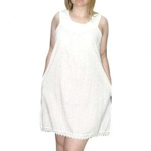 rövid pamut ruha indiából fehér színben