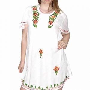 Tunika Fehér Hímzett Virágokkal