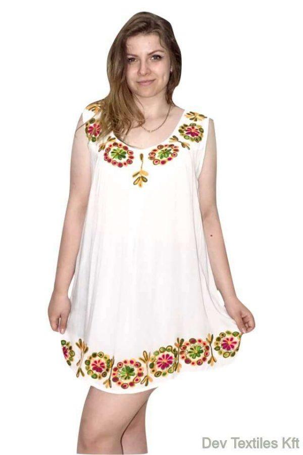 tunika indiából fehér színben hímzett minta