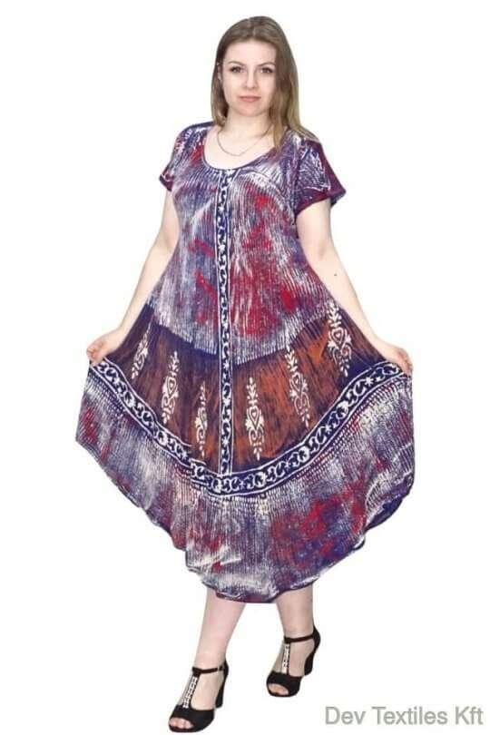 absztrakt mintával indiai hosszú ruha kék