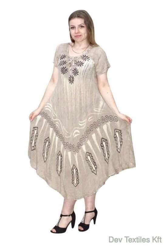 indiai hosszú ruha keleti stílusú mintával drapp