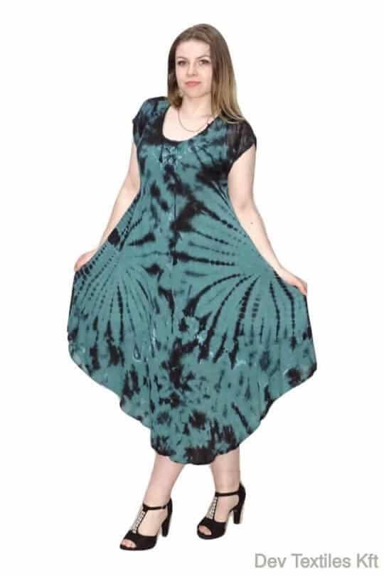 indiai hosszú ruha színes foltokkal zöld