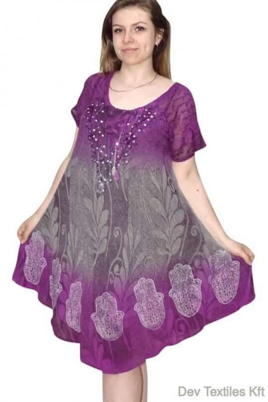 rövid ruha levél mintás flitterekkel díszített ruha