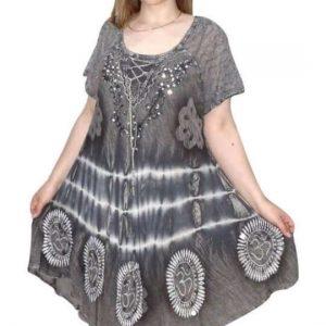 rövid ruha om mintás batikolt rövid ruha