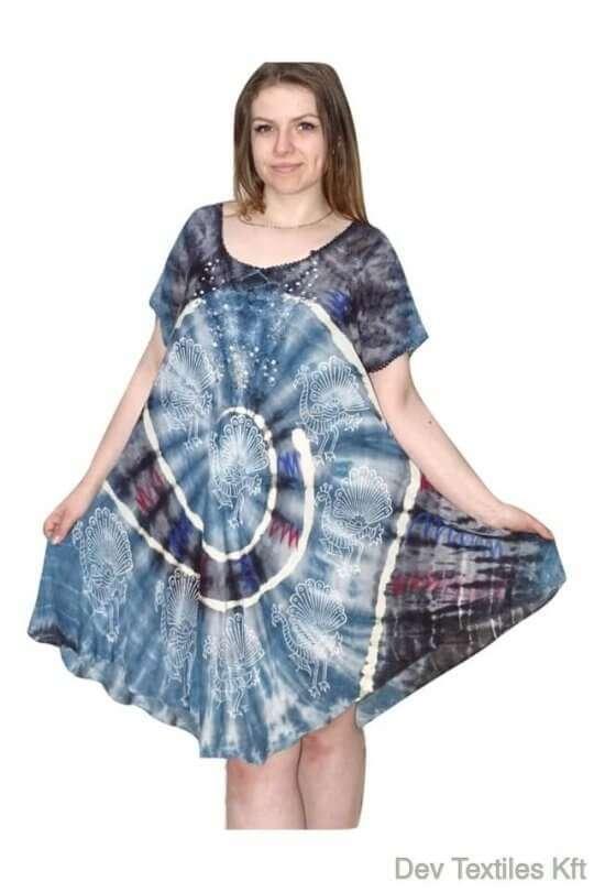 rövid ruha színes halvány páva mintás