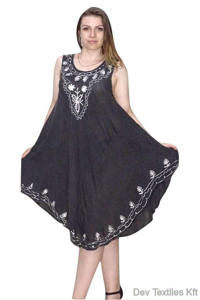 hímzett mintával rövid nyári ruha indiából