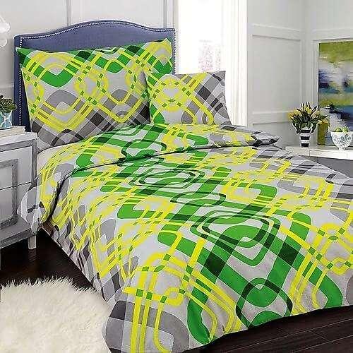 szürke és neon zöld pamut ágyneműhuzat